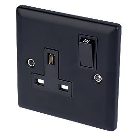 Volex 13A 1-Gang DP Switch Socket Blk Ins Matt Blk Angle Edge