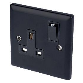 Volex 13A 1-Gang DP Switch Socket Blk Ins Matt Blk Angle Edge