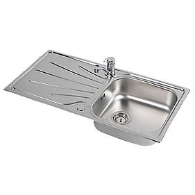 Astracast Kitchen Sink & Tap Stainless Steel 1 Bowl & Drainer 965 x 500mm