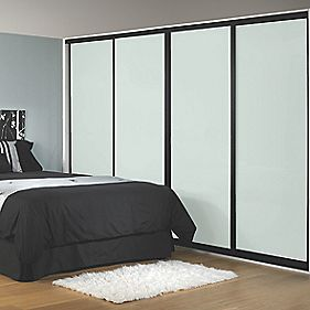 Sliding Wardrobe Doors Black Frame WhiteGlass Panel 4-Door 2943 x 2330mm