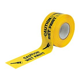 No Nonsense Caution Wet Paint Hazard Tape Black / Yellow mm x m