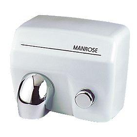 Manrose MAN/E88 Push-Button Hand Dryer White 2.4kW