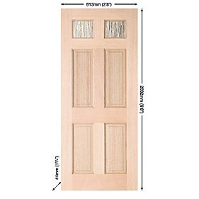 Jeld-Wen Brock 2-Light Double-Glazed Exterior Door Unfinished 813 x 2032mm