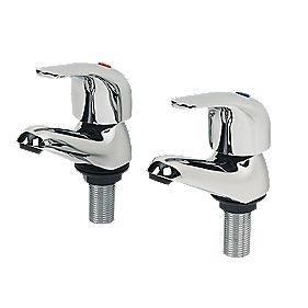 Swirl Single Lever Bathroom Basin Taps Pair Chrome