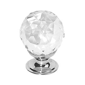 Cabinet Knob Faceted Glass / Polished Chrome 30mm Pack of 6