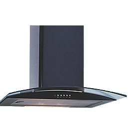 Curved Glass Chimney Cooker Hood Black 600mm