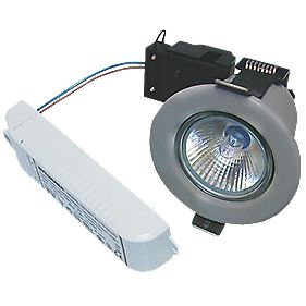 Sylvania Fixed Round LV Fire Rated Downlight Contractor Pack Brsh Steel 12V