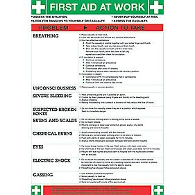 """First Aid At Work"" Poster 600 x 420mm"