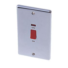 LAP 2-Gang 45A DP Cooker Switch with Neon Polished Chrome