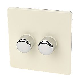 Varilight White Choc 2-Gang 1/2-Way Push 2 x 250W Dimmer