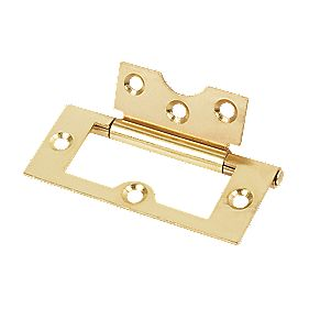 Flush Hinge Brass Plate 76x33mm Pack of 2