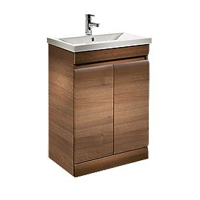 Tavistock Groove Freestanding Bathroom Basin Unit Walnut 590mm