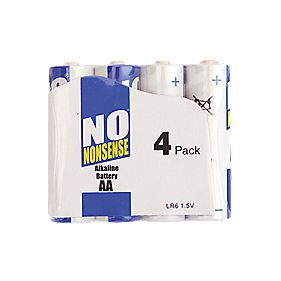 No Nonsense Alkaline Batteries AA Pack of 4