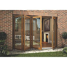 Jeld-Wen Slide & Fold Patio Door Set Oak Veneer 2994 x 2094mm