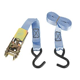 Ratchet Tie-Down Strap with Hook 3m x 25mm 2 Piece Set