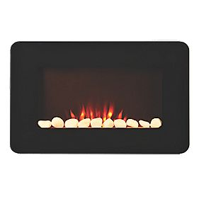 Black Remote Control Electric Wall-Hung Fire