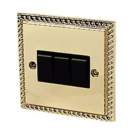 3-Gang 2-Way Switch Georgian Brass