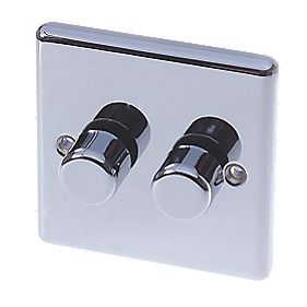 LAP 2-Gang 2-Way Push Dimmer Switch 400W/250VA Polished Chrome