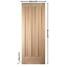 Jeld-Wen Aston 3-Panel Interior Door Oak Veneer 838 x 1981mm