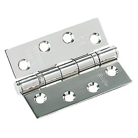 Fire Door Hinge Grade 13 Polished Stainless Steel 102 x 76mm Pack of 3