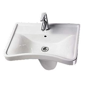 AKW Concave Semi-Pedestal Bathroom Basin 1 Tap Hole 600mm