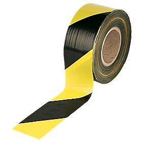 Barrier Tape Black / Yellow 75mm x 500m