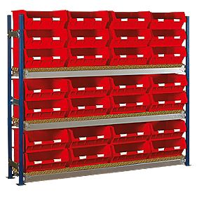 Toprax Longspan Starter Bay w/ 28 x TC6 Red Containers 1812 x 328 x 1500mm