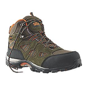 Site Basalt Safety Trainer Boots Khaki / Orange Size 10