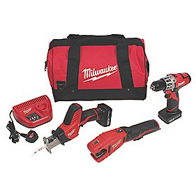 Milwaukee 12V Drill Driver, Hacksaw & Pipe Cutter Plumbers 3 Piece Kit