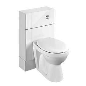 Bathroom Slim WC Unit Inc Toilet & Cistern White Shaker 500 x 200 x 810mm