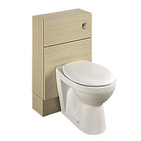 Bathroom Slimline WC Unit Inc Toilet & Cistern Oak Slab 500 x 200 x 810mm