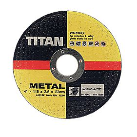 Titan Metal Cutting Disc 115 x 2.5 x 22mm Pack of 5