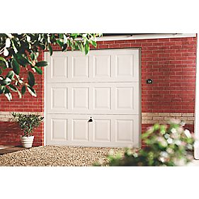 "Georgian 7' 6 "" x 7' Frameless Steel Garage Door White"