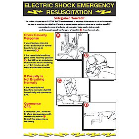 """Electric Shock Emergency Resuscitation"" Safety Poster 420 x 600mm"