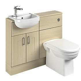 Slimline Vanity & WC Units Oak Shaker 1000mm