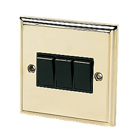 3-Gang 2-Way Switch Victorian Brass