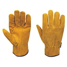 Stanley Split Cowhide Leather Driver Gloves Brown Large