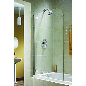 Aqualux Curved Bath Screen Semi-Framed Silver/Clear 850 x 1380mm