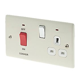 British General 45A DP Cooker Switch & 13A Switched Socket with LED Cream