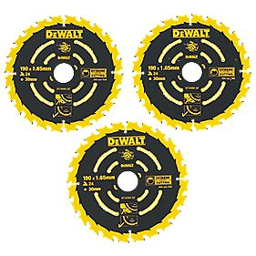 DeWalt DT10304-QZ Extreme TCT Circular Saw Blades 24T 190 x 30mm Pack of 3