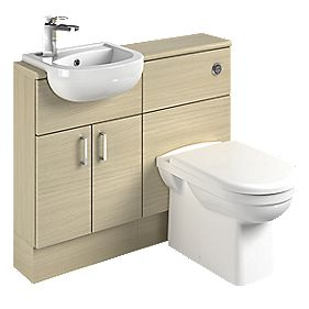 Slimline Vanity & WC Units Oak Slab 1000mm