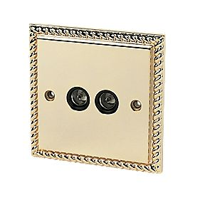 Twin TV Socket Georgian Brass