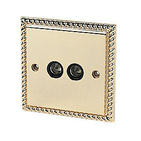 Twin TV Socket Georgian Brass