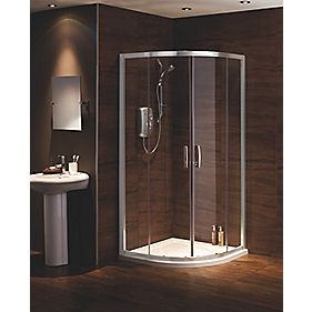 Moretti Corner Shower Enclosure Quadrant Chrome Effect 900mm