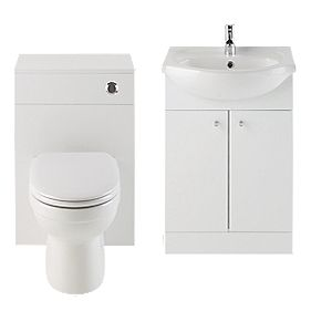Vanity Bathroom Basin & Toilet Unit White 1030mm