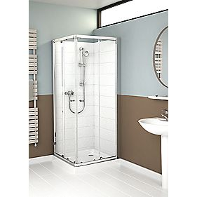 Mira Flight ACE Square Shower Enclosure Silver 800mm Sliding Glass Doors