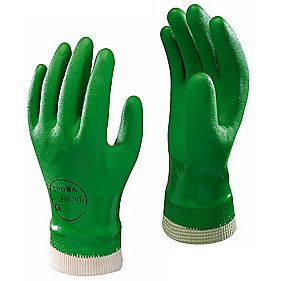 Showa Best 600 Landscaping & Gardening PVC Waterproof Gloves Green Medium