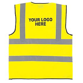 "Hi-Vis Waistcoat with Your Print on Back Pk10 Yellow "" Chest"