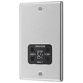 LAP Dual Voltage Shaver Socket 115/230V Stainless Steel