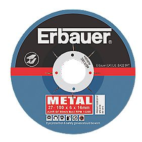 Erbauer Metal Grinding Discs 100 x 6 x 16mm Pack of 10